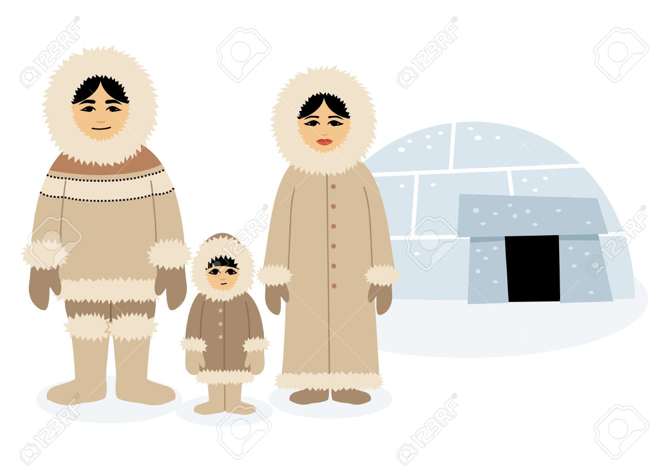 Eskimo family, posing in front of their igloo.   Each character as well as the igloo is grouped separately, so you can easily rearrange the composition in the vector file. No transparency and gradients used. Stock Vector - 5821128