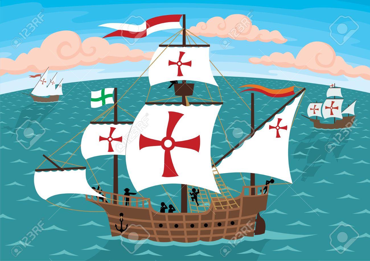 Los Barcos De Cristóbal Colón En Su Camino A Los Estados Unidos