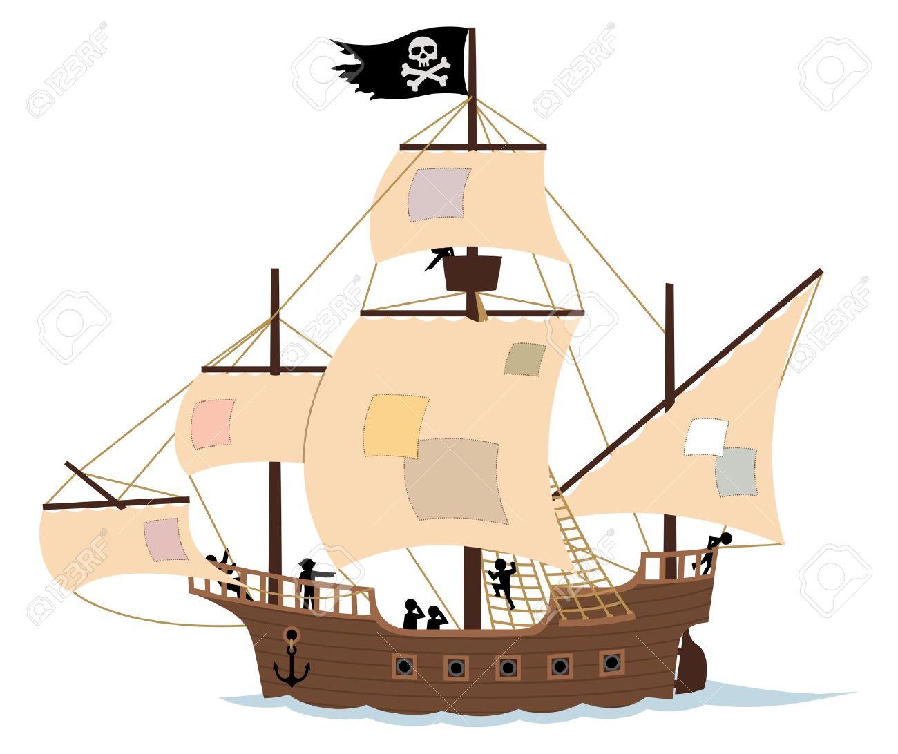 Un Barco Pirata, Aislado En Blanco. Retire Las Revisiones De Las ...