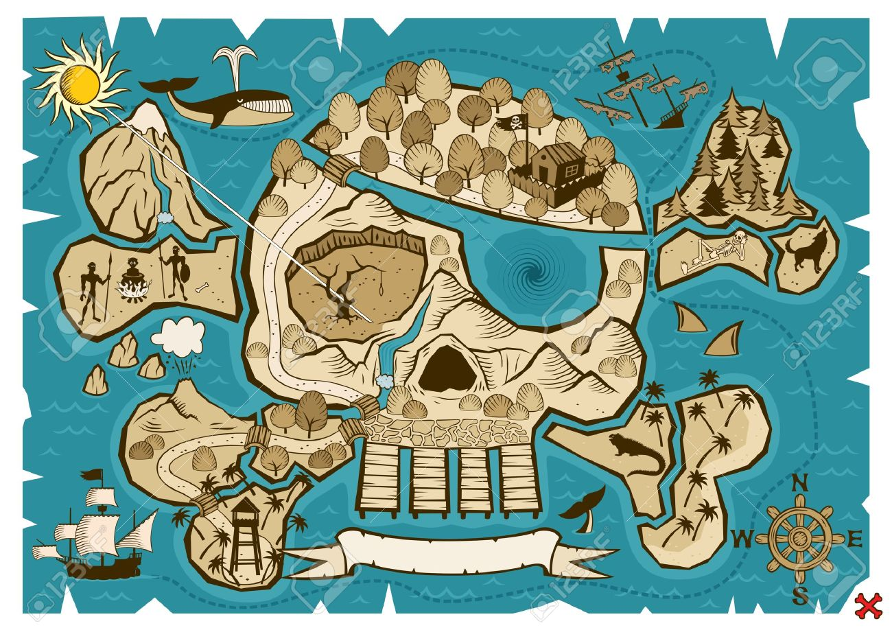 Map of  treasure island in the shape of skull and bones. Use the X in the lower right corner to mark the place of the treasure. No transparency and gradients used. Stock Vector - 7244056