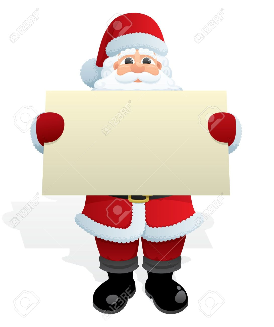 Santa Claus, delivering a Christmas message. No transparency used. Basic (linear) gradients used. Stock Vector - 7653400