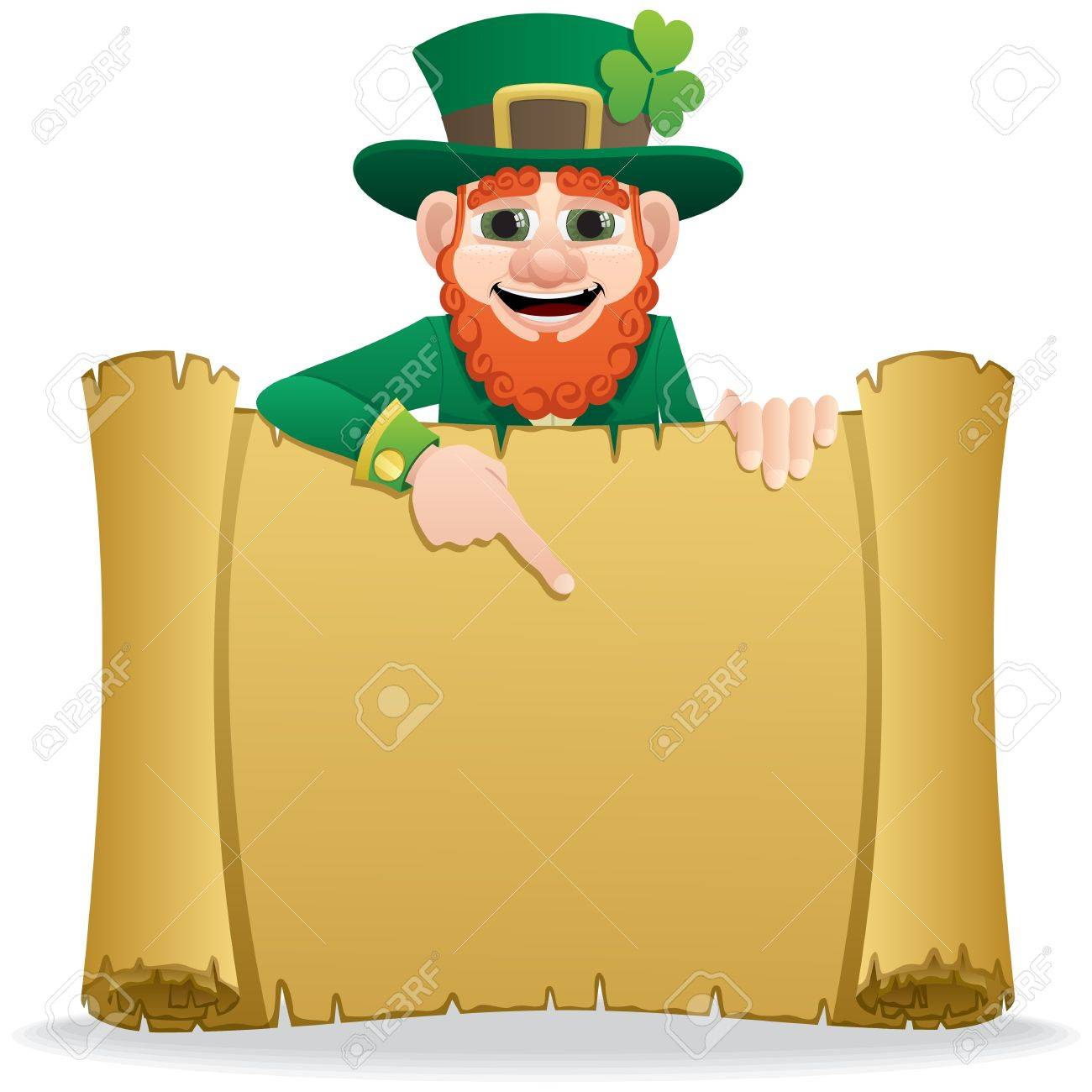 A leprechaun, holding a scroll with copy space for your text. No transparency used. Basic (linear) gradients used. Stock Vector - 8550990