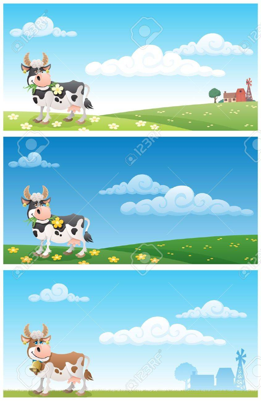 cartoon cow grazing on a meadow the illustration is in 3