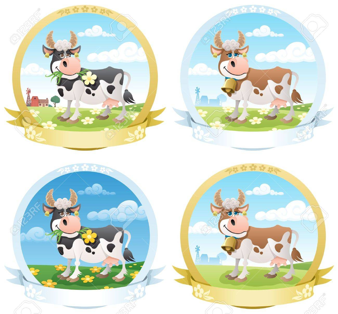 4 dairy products labels.  No transparency used. Basic (linear) gradients used. Stock Vector - 9672814