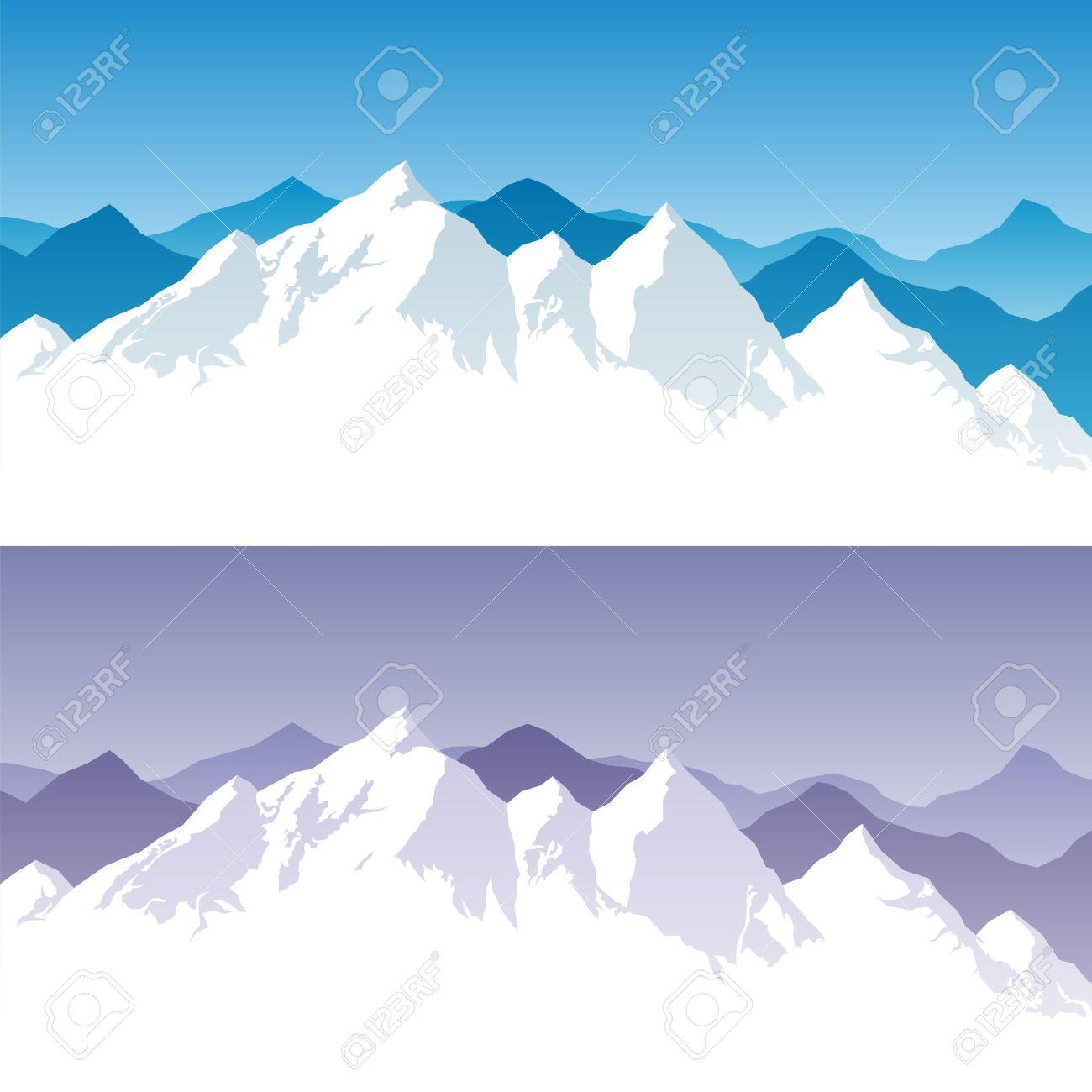 Arriere Plan Avec La Chaine De Montagnes Enneigee En 2 Versions De