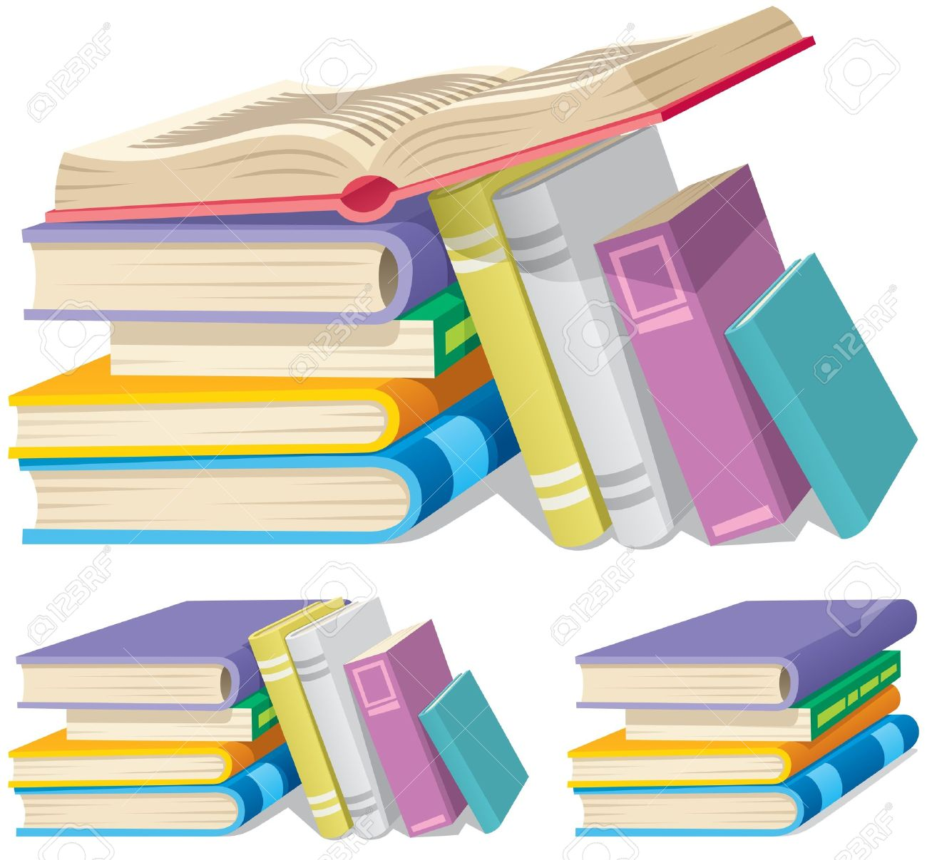 Illustration of a cartoon book pile in 3 different versions. - 10045975