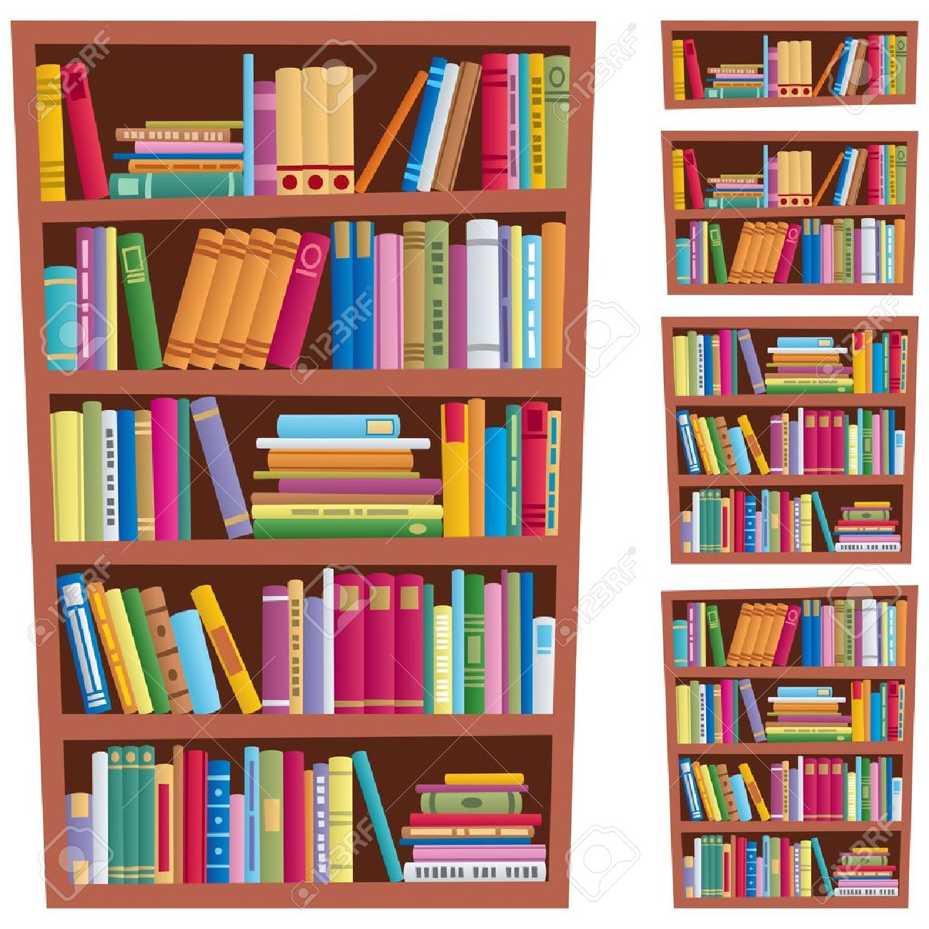 Cartoon Illustration Of A Bookshelf In 5 Different Versions Stock Vector