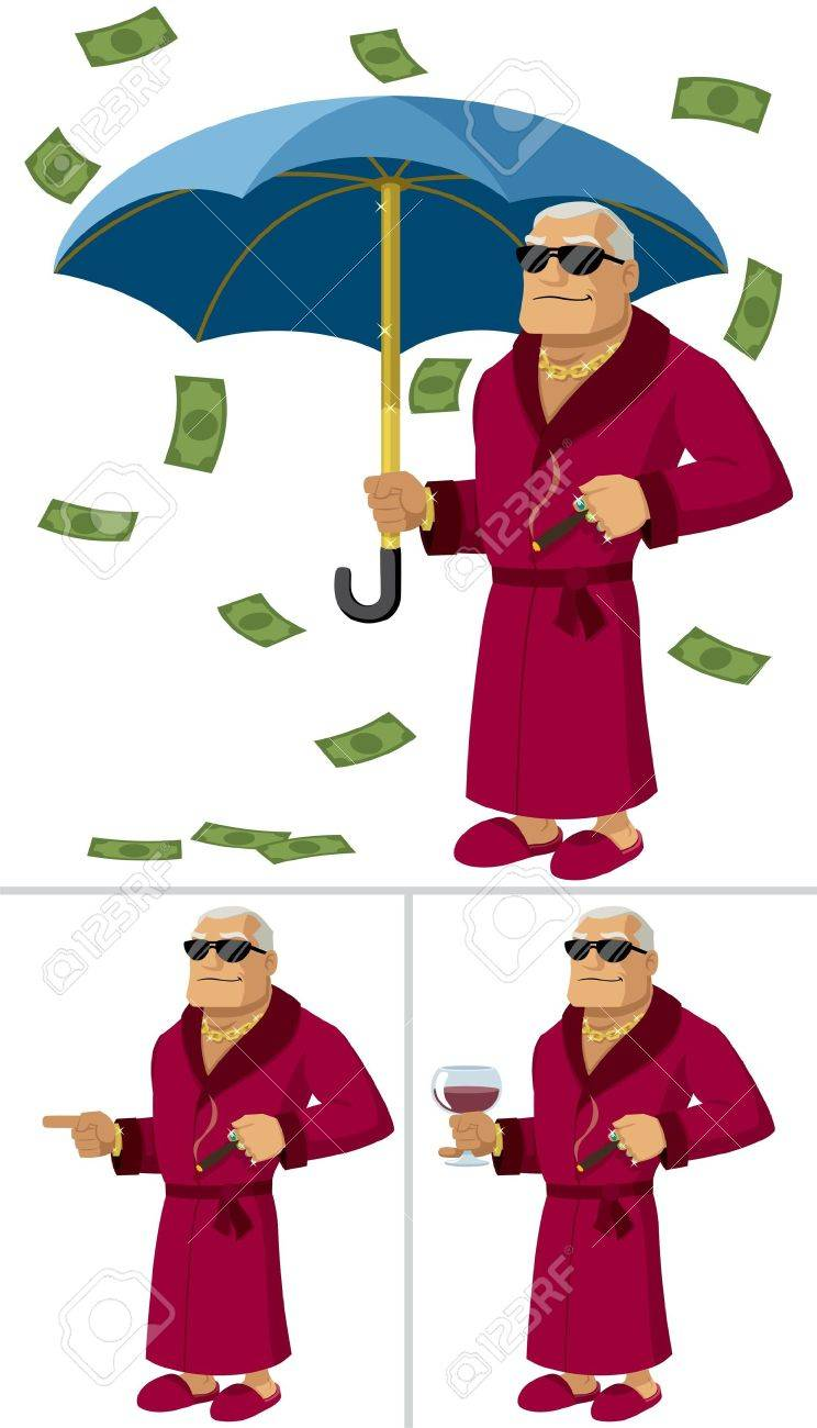 Cartoon illustration of a rich man in 3 different poses/situations. No transparency and gradients used. Stock Vector - 10103041