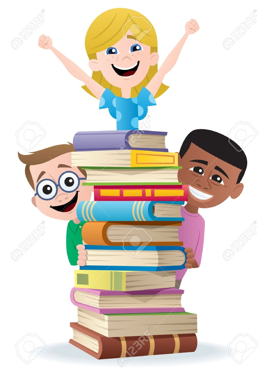 Books and Kids.  No transparency used. Basic (linear) gradients used. Stock Vector - 10307592
