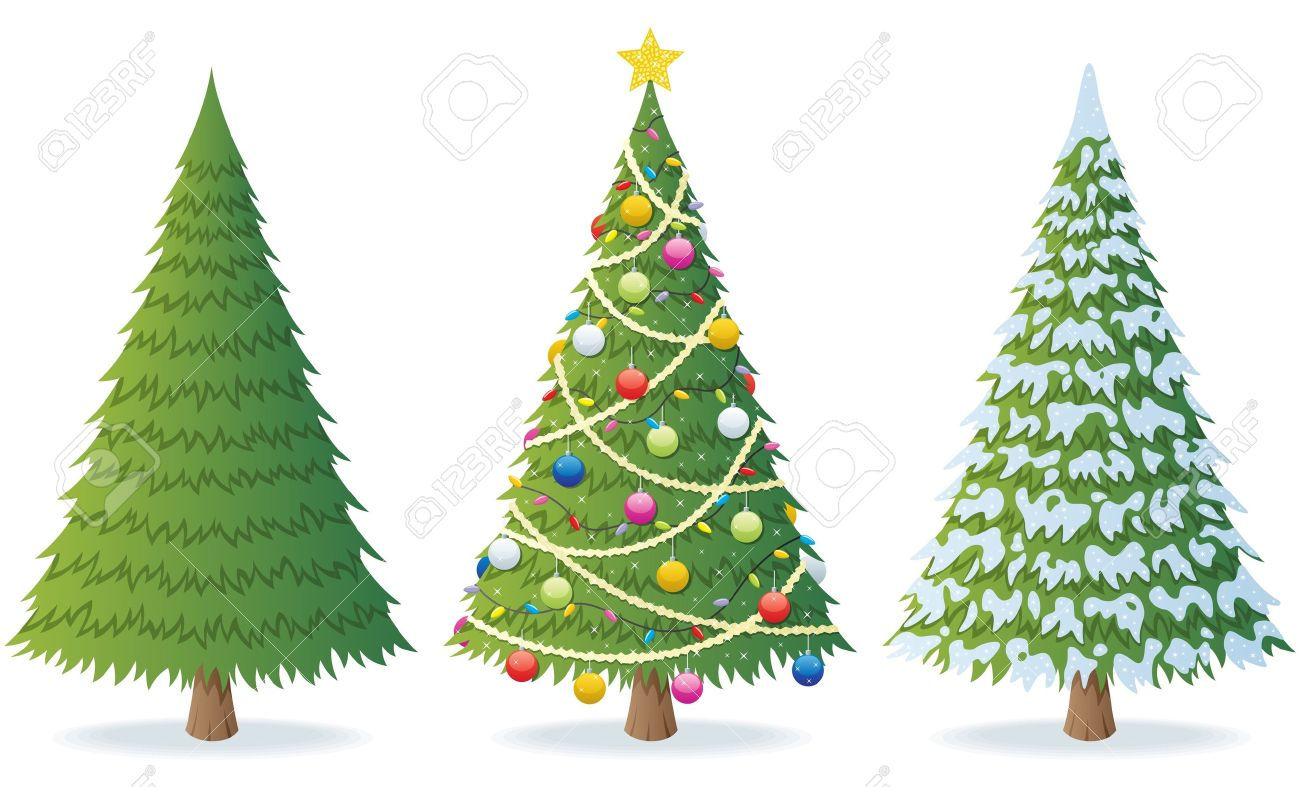 Cartoon illustration of Christmas tree in 3 different situations. No transparency used. Basic (linear) gradients. - 10325079