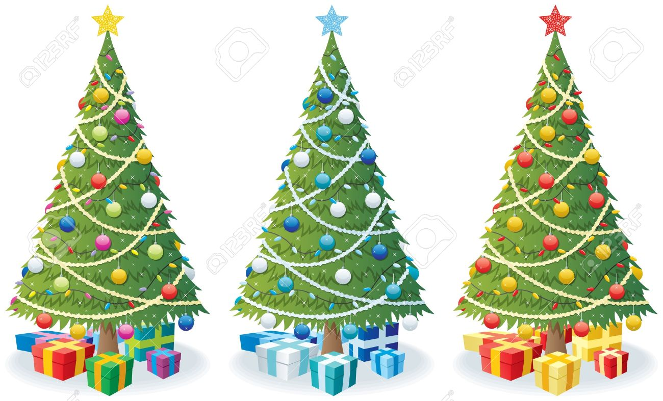 Cartoon Illustration Of Christmas Tree In 3 Color Versions ...
