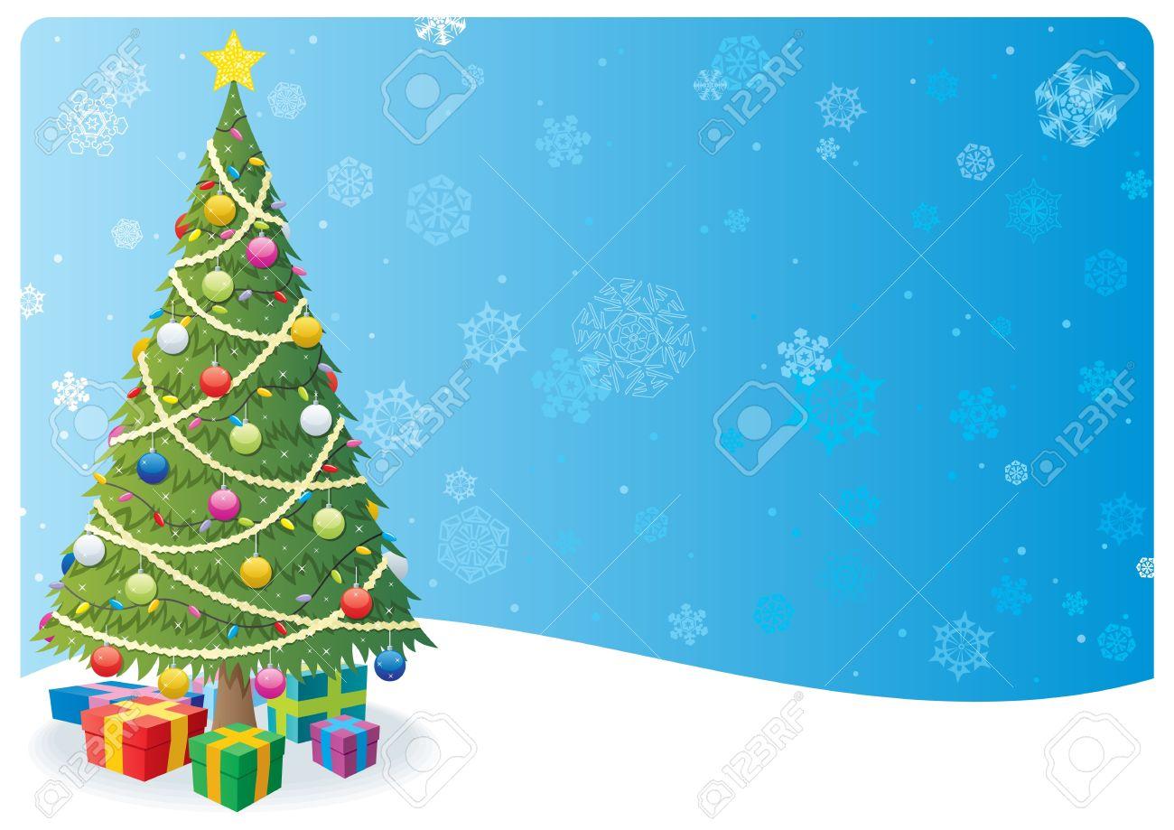 Dibujo Animado De Fondo De Navidad Con El árbol De Navidad Y La Nieve No Utilizada La Transparencia Básicos Degradados Lineales