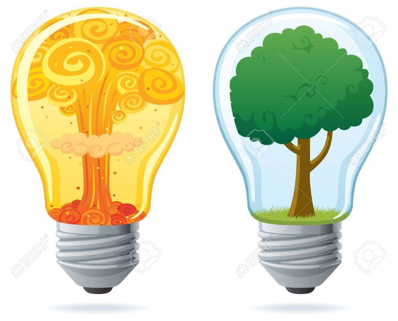 Conceptual illustration of 2 light bulbs, powered by nuclear and by clean energy.  No transparency used. Basic (linear) gradients. Stock Vector - 10369812