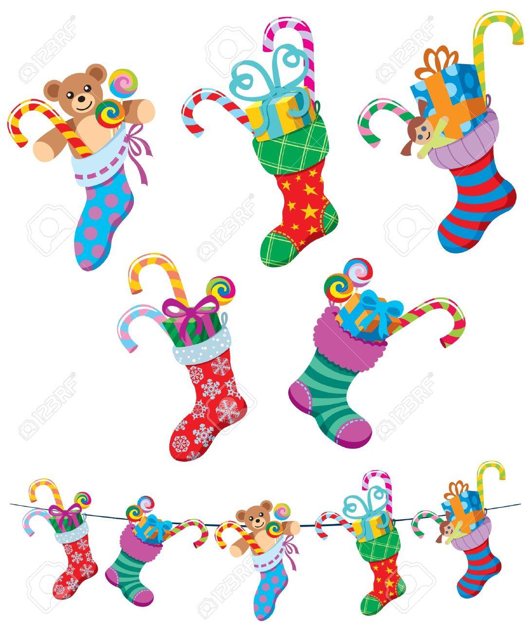 Christmas Stockings Cartoon.5 Cartoon Christmas Stockings Over White Background No Transparency