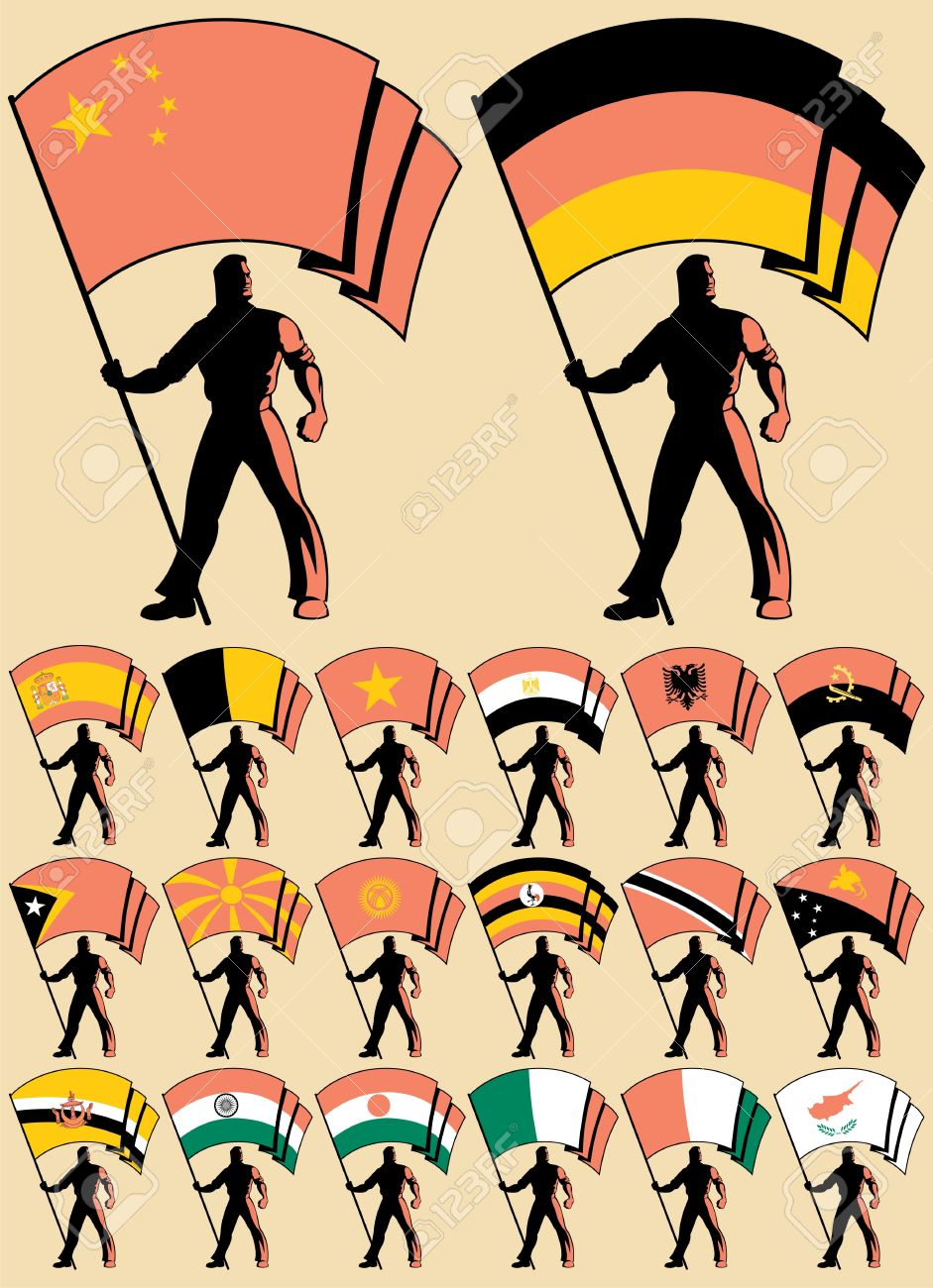 Flag bearer in 20 versions, differing by the flag. No transparency and gradients used. Stock Vector - 11663914