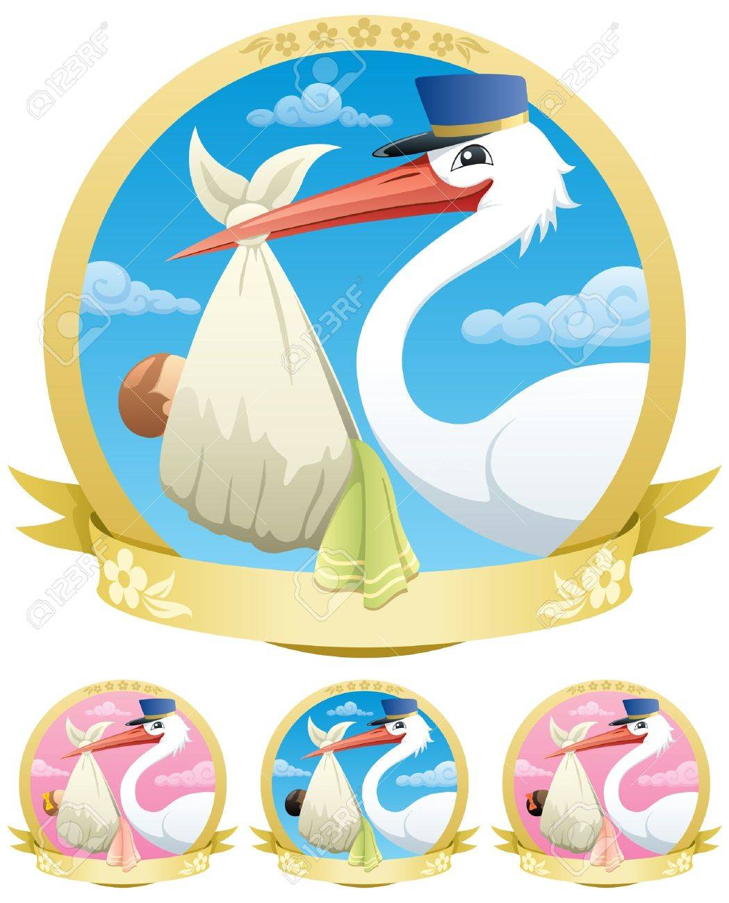 Stork is delivering a baby. The illustration is in 4 different versions. No transparency used. Basic (linear) gradients. - 11664087