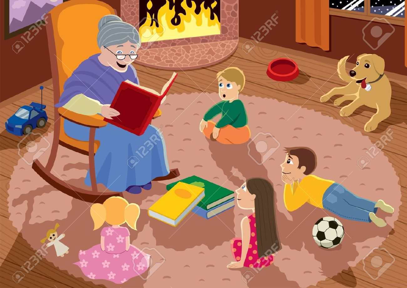 Granny is reading fairy tales to her grandchildren. Stock Vector - 12077339