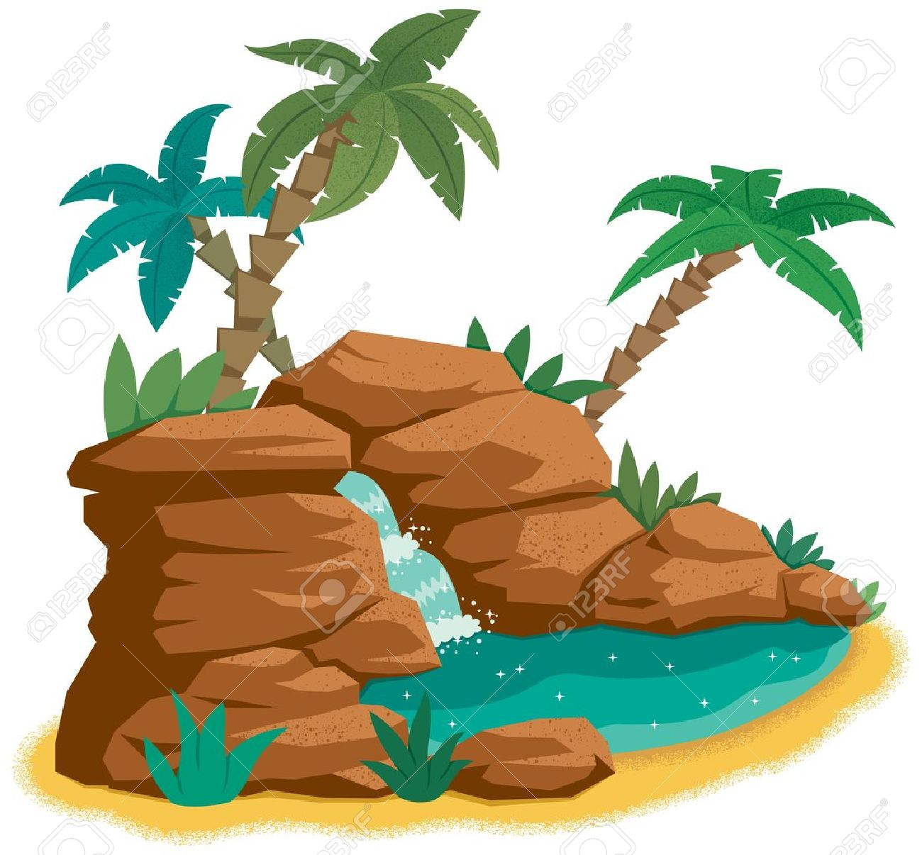 Cartoon desert oasis.  No transparency and gradients used. Stock Vector - 12176816