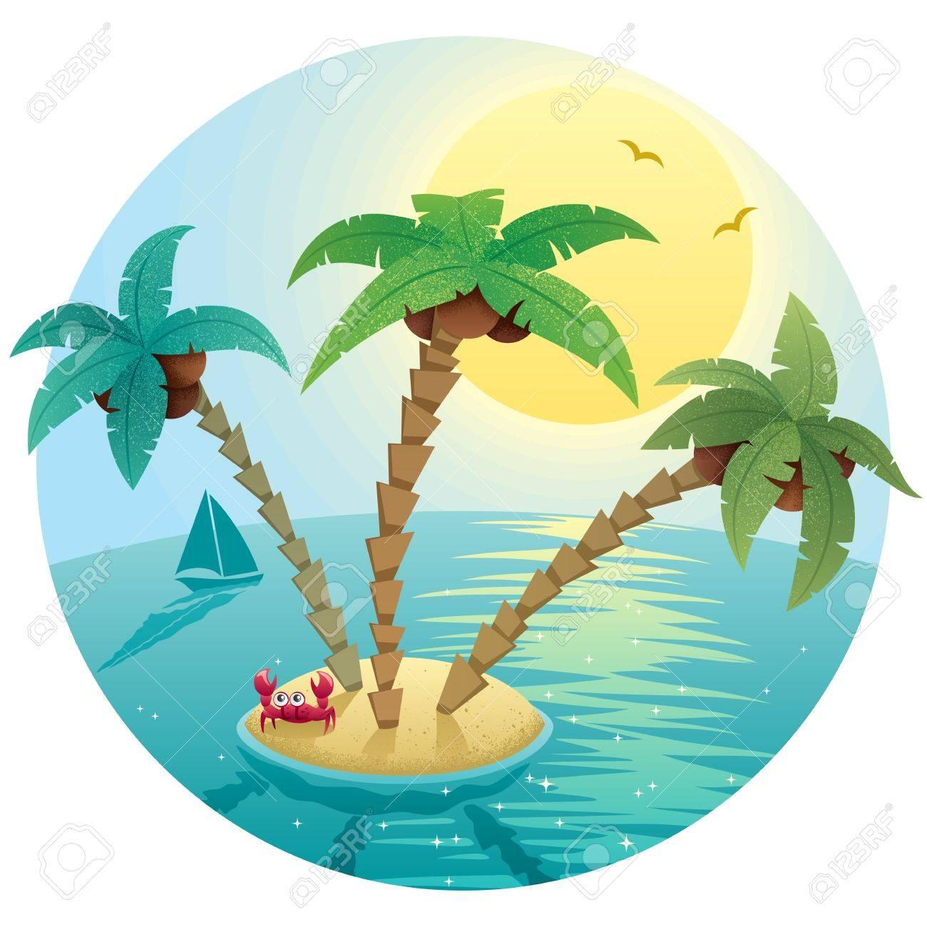 Cartoon Palm Tree Island Cartoon Palm Tree