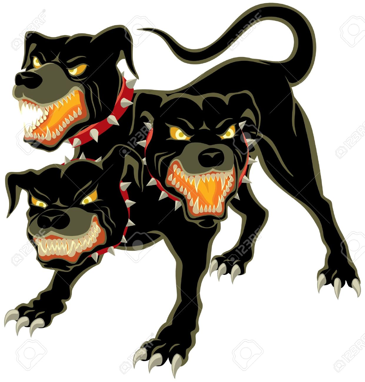 The three headed dog - Cerberus  No transparency and gradients used Stock Vector - 12496640
