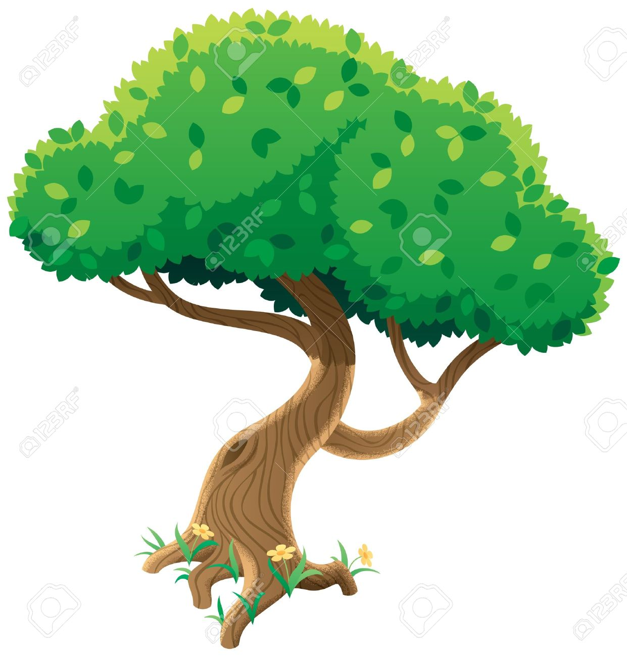 Cartoon Tree Over White Background No Transparency Used Basic Linear Gradients
