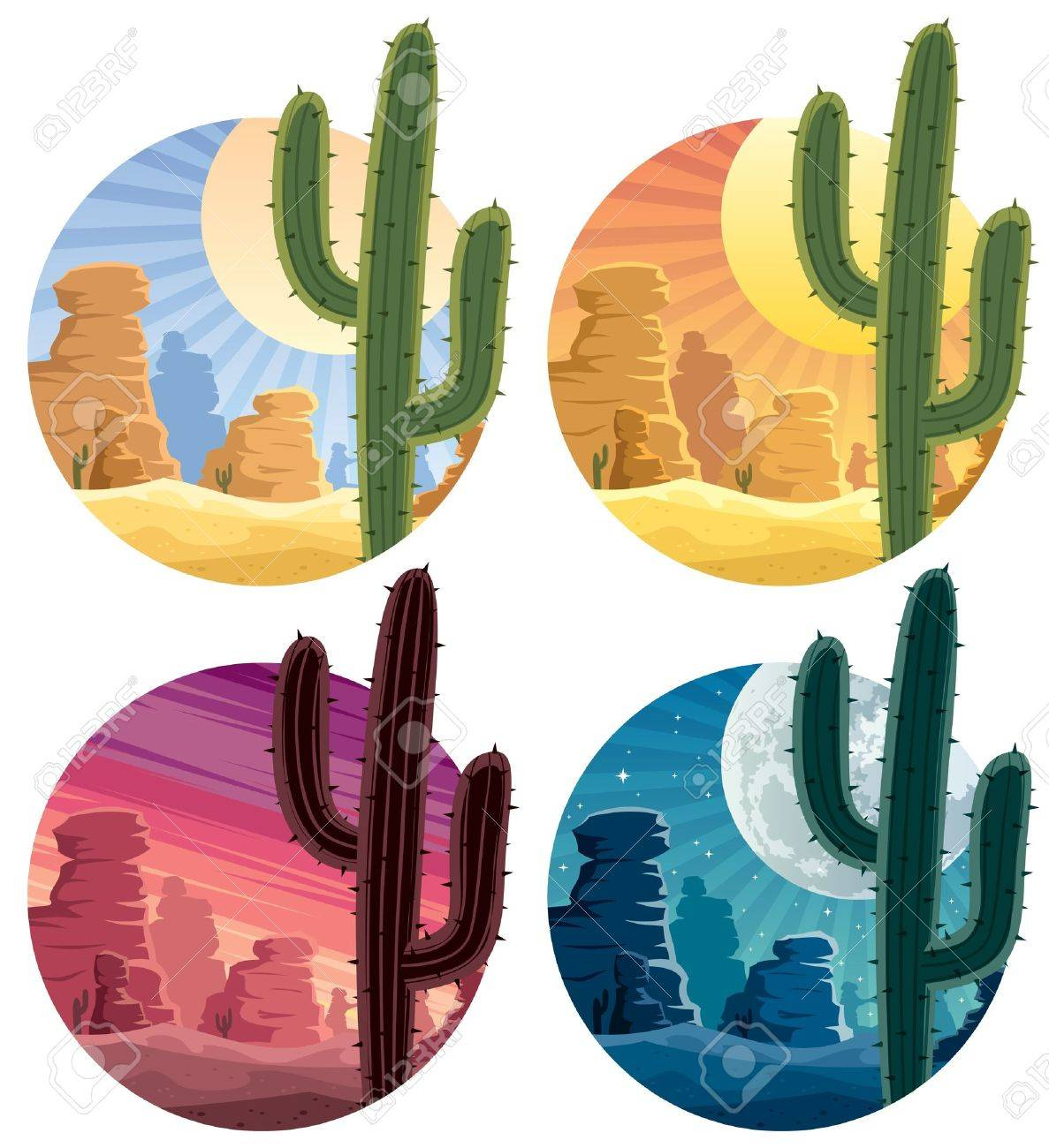 Mexican desert landscape in 4 different versions.  No transparency used. Basic (linear) gradients. Stock Vector - 12800056