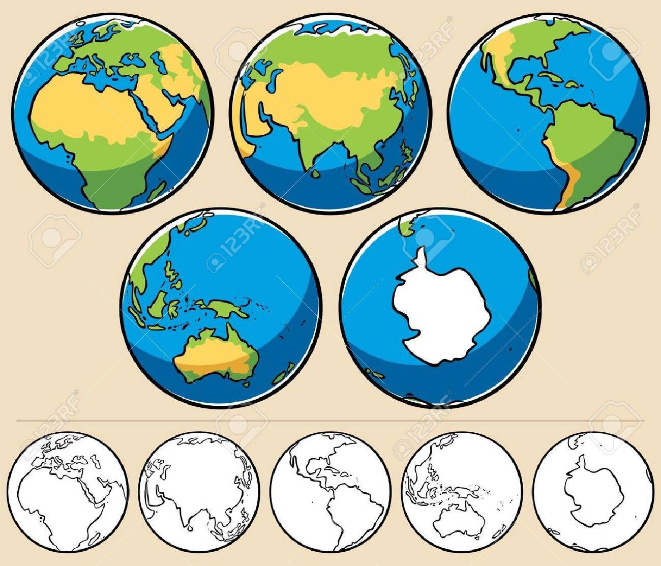 Ilustración De Dibujos Animados Del Planeta Tierra Visto Desde 5 ángulos Diferentes A Continuación Se Presentan Los Globos Coloreados Mismos