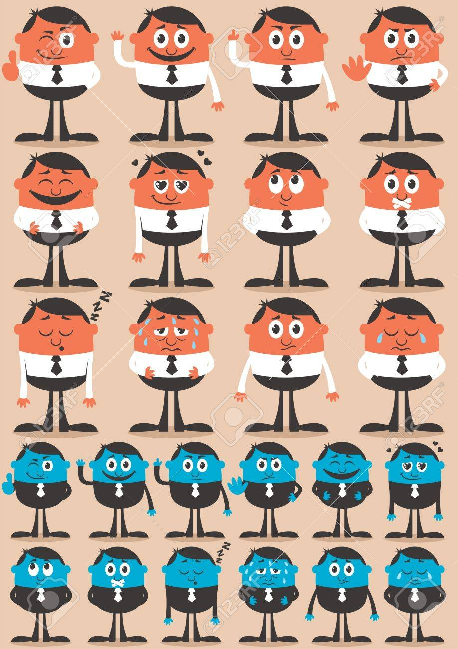 Retro businessman character in 12 different emotions and 24 versions.  Easy to change colors. No transparency and gradients used. Stock Vector - 13170316