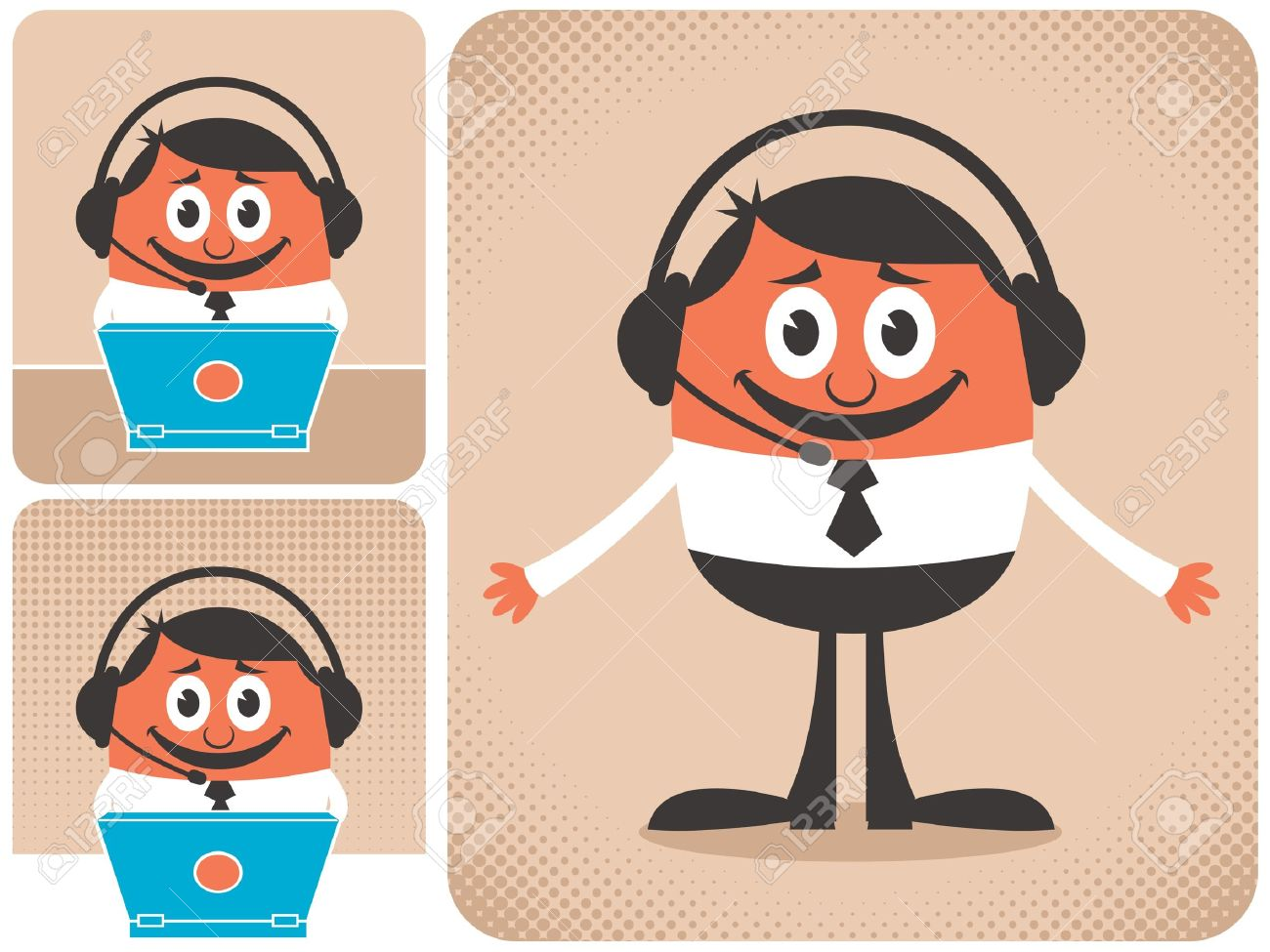 Technical support guy in 3 different versions. No transparency and gradients used. - 13264694
