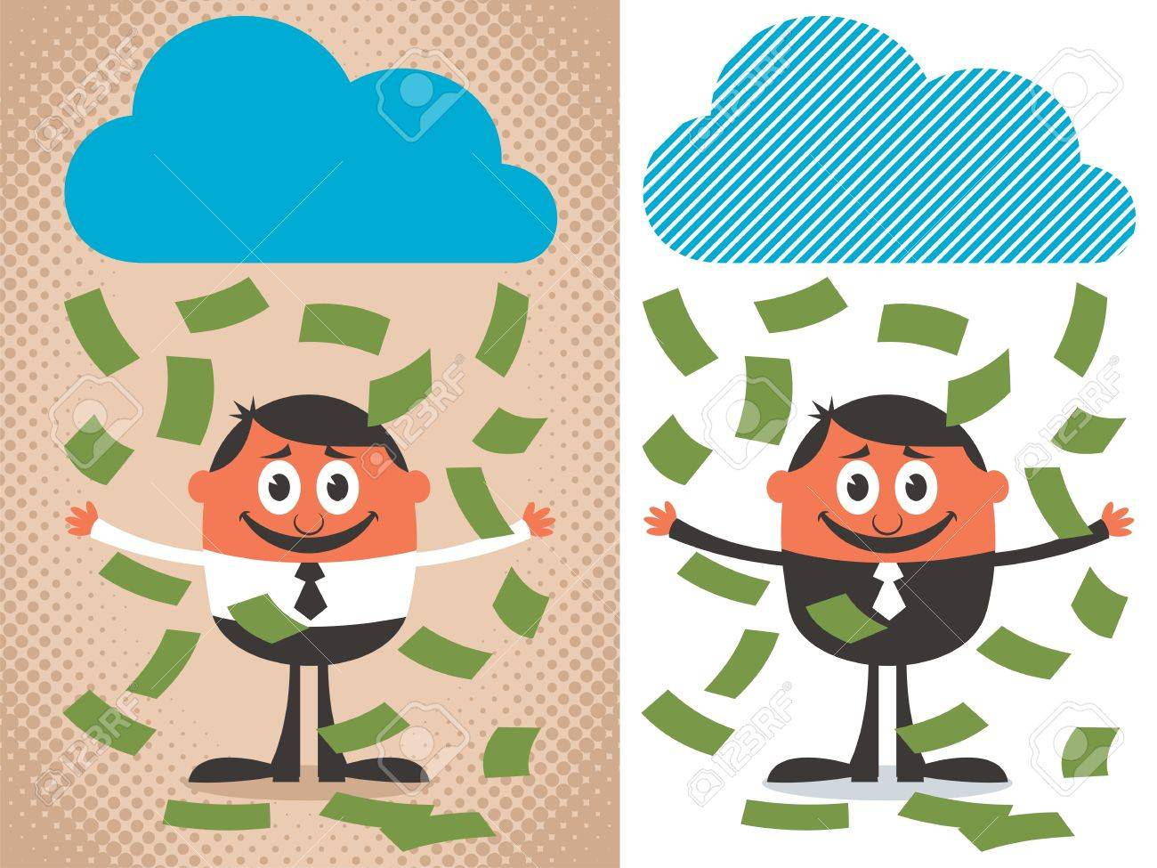 Money raining over cartoon character. The illustration is in 2 versions. No transparency and gradients used. Stock Vector - 13302602