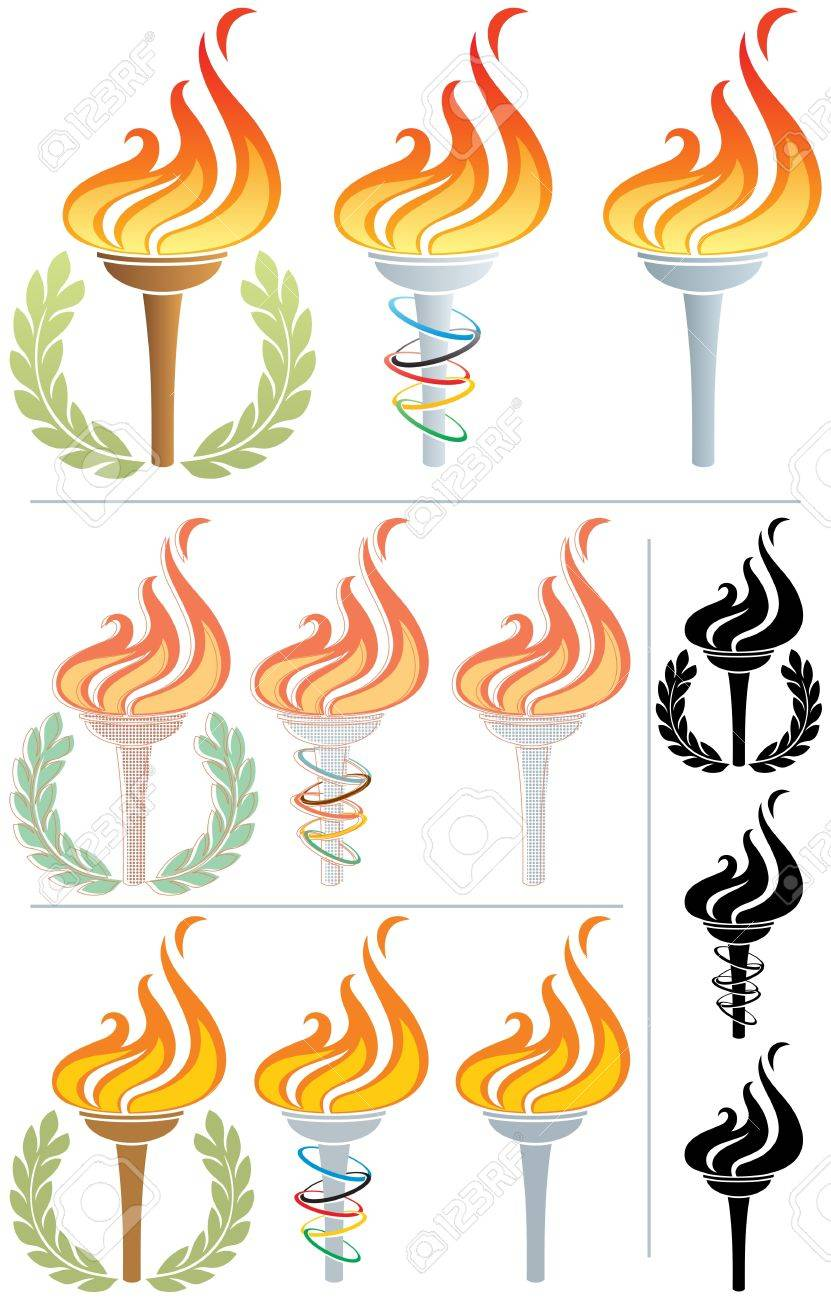 Stylized illustration of a flaming torch in 12 different versions. No transparency used. Basic (linear) gradients used in the first 3 torches. Stock Vector - 13587798