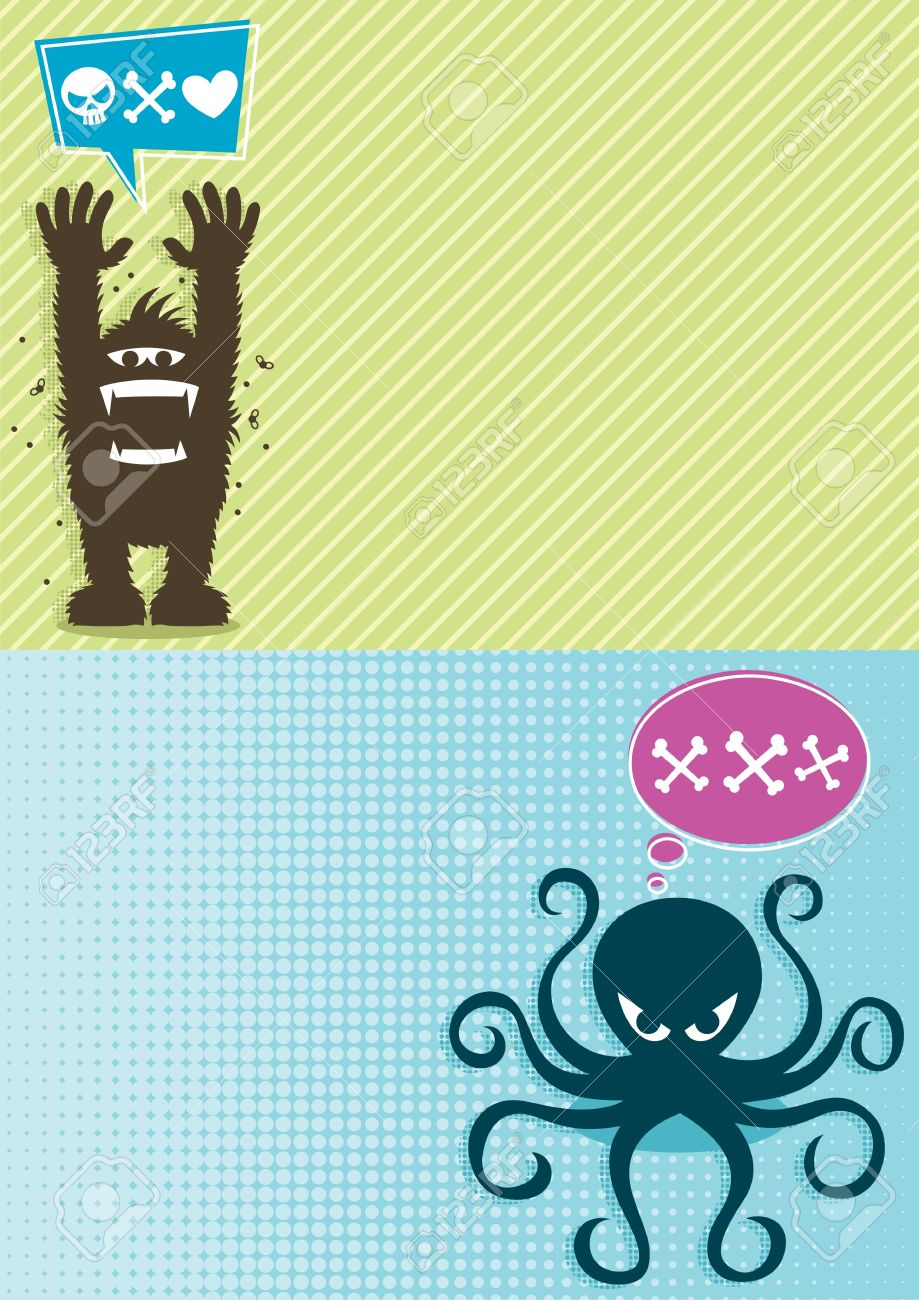 2 horizontal backgrounds with cartoon monsters. A4 proportions.  No transparency and gradients used. Stock Vector - 13781922