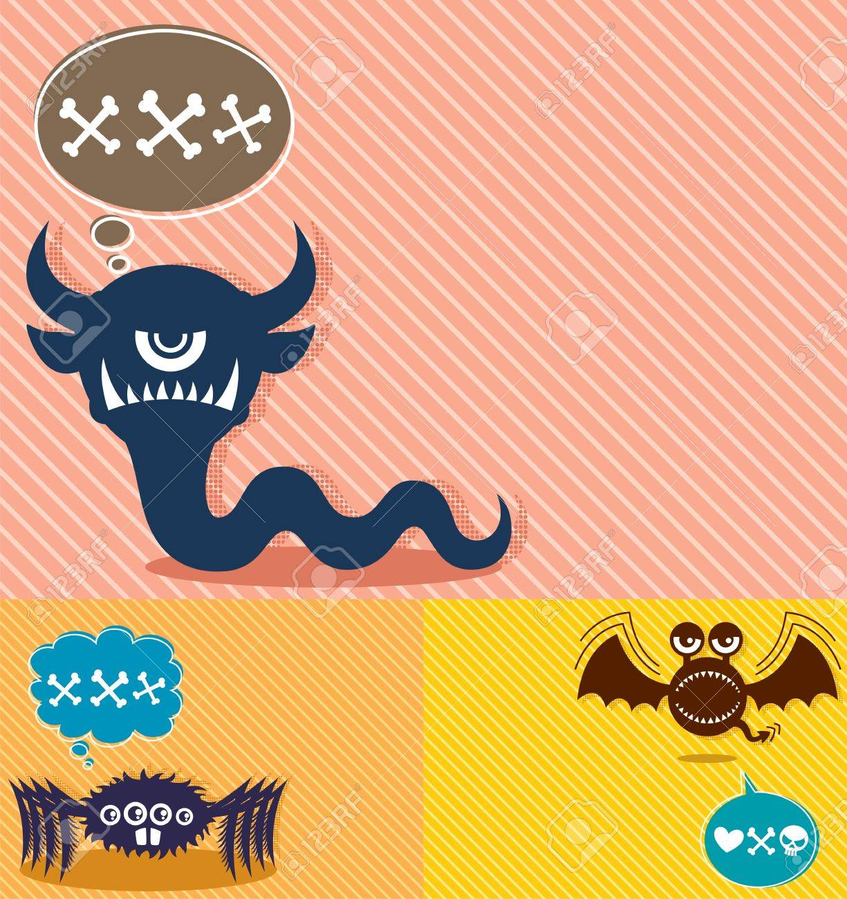 3 horizontal backgrounds with cartoon monsters. A4 proportions.  No transparency and gradients used. Stock Vector - 13789057