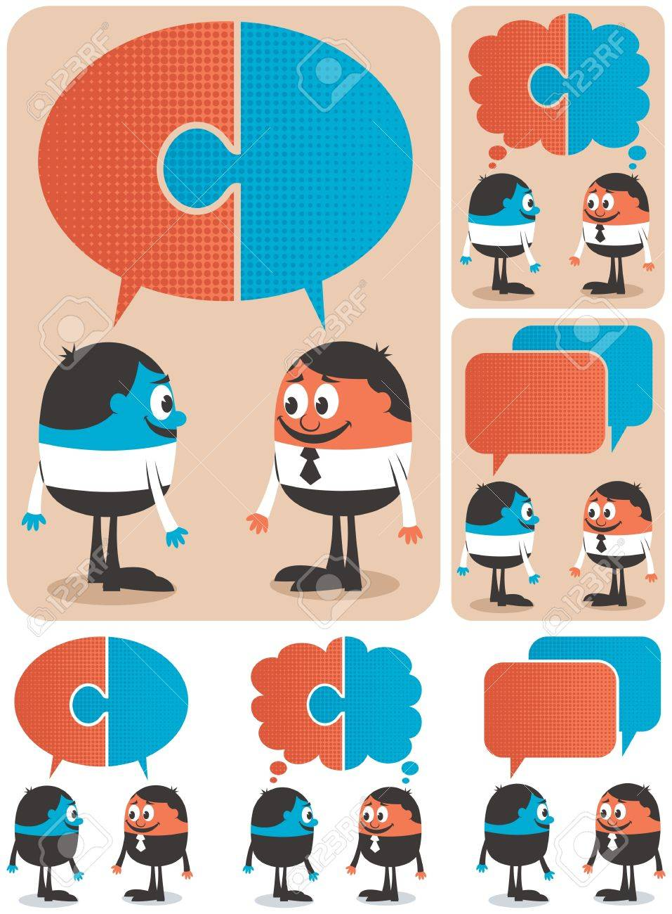 Conceptual illustration  for cooperation. It is in 6 versions. No transparency and gradients used. Stock Vector - 13853872