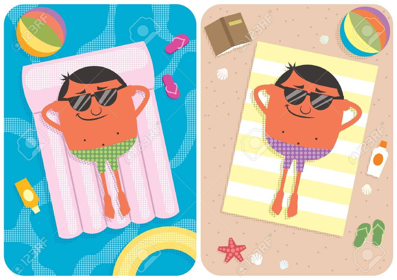 2 illustrations depicting a cartoon character on vacation. No transparency and gradients used. Stock Vector - 13869790