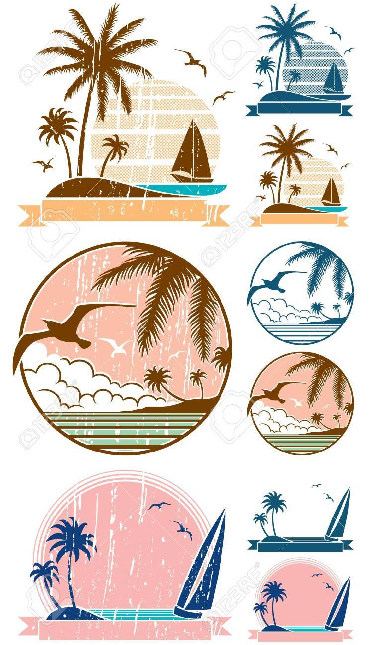 Set of 3 beach symbols + 6 additional versions (2 for each symbol). No transparency and gradients used. Stock Vector - 14289036