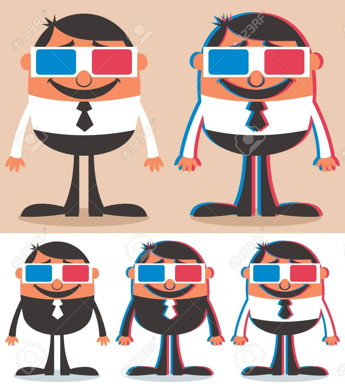 Cartoon character with 3D glasses. No transparency and gradients used. Stock Vector - 14346868