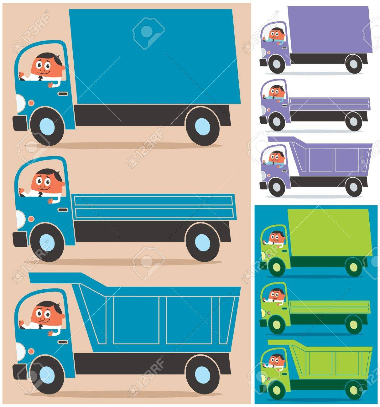 Cartoon character driving 3 types of trucks. Each truck is in 3 color versions. No transparency and gradients used. Stock Vector - 14477777
