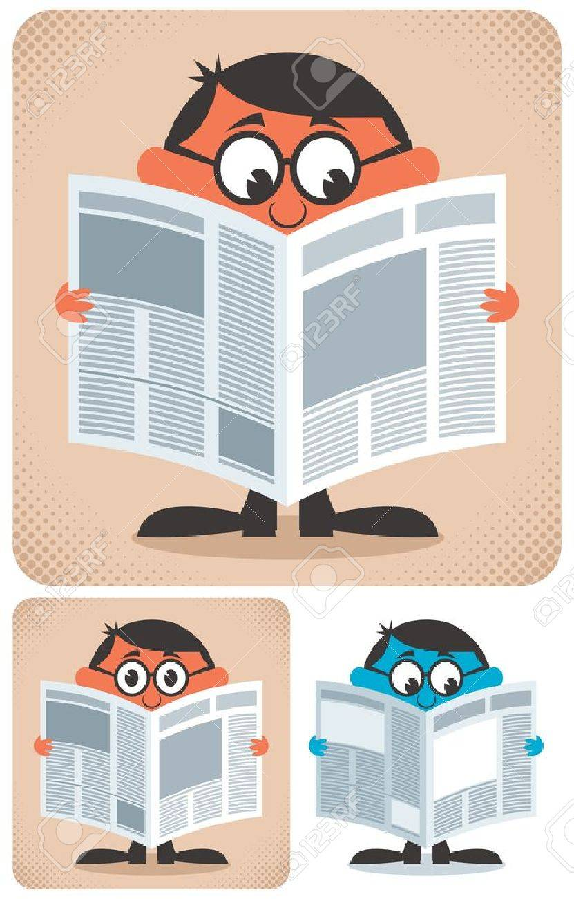 Man reading newspaper. No transparency and gradients used. Stock Vector - 14477778