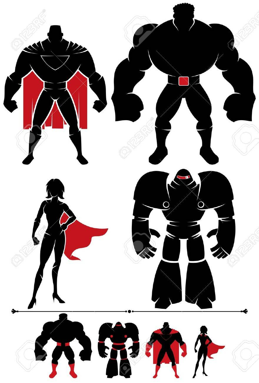 4 different superhero silhouettes in 2 versions each. Stock Vector - 15304913