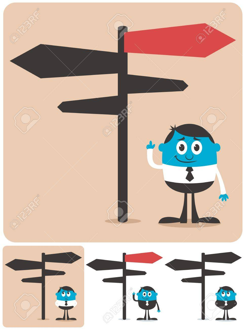 Conceptual illustration for choice and directions. It is in 4 different versions. Stock Vector - 15380388