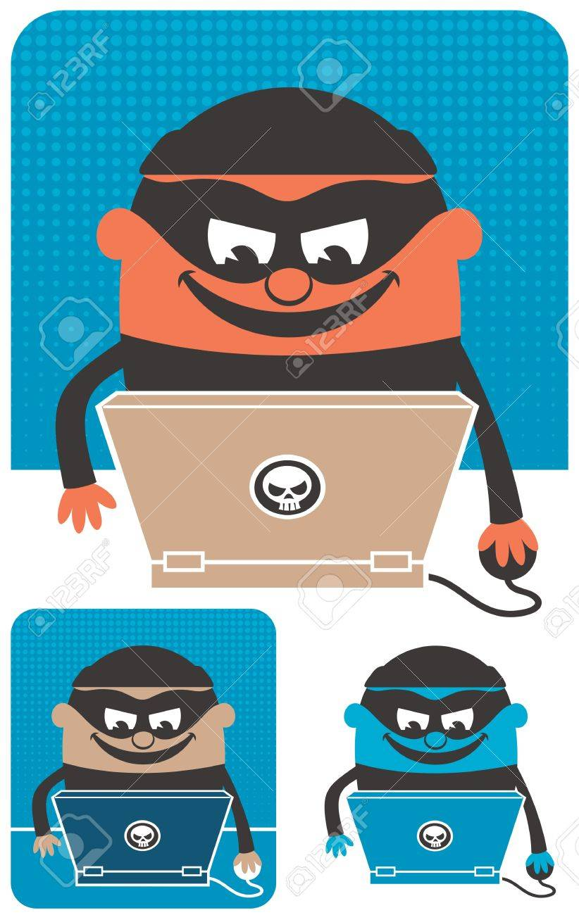 Criminal using computer to commit crime. The illustration is in 3 versions. No transparency and gradients used. Stock Vector - 15431424