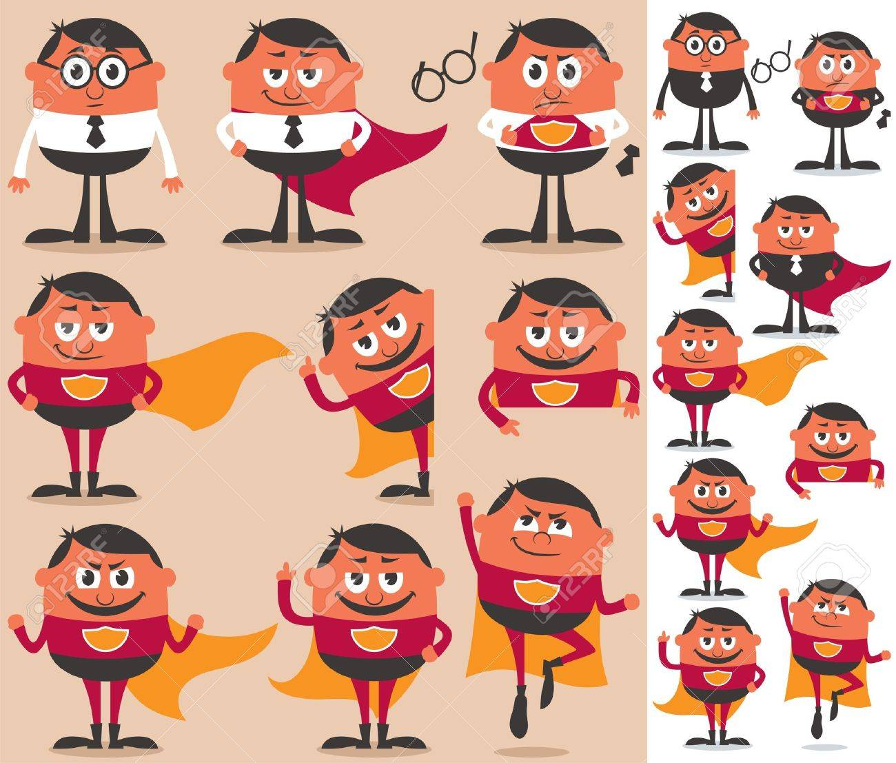 Businessman who is actually superhero in disguise. 9 different poses.  On the right is the same character adapted for white background. Stock Vector - 15483126