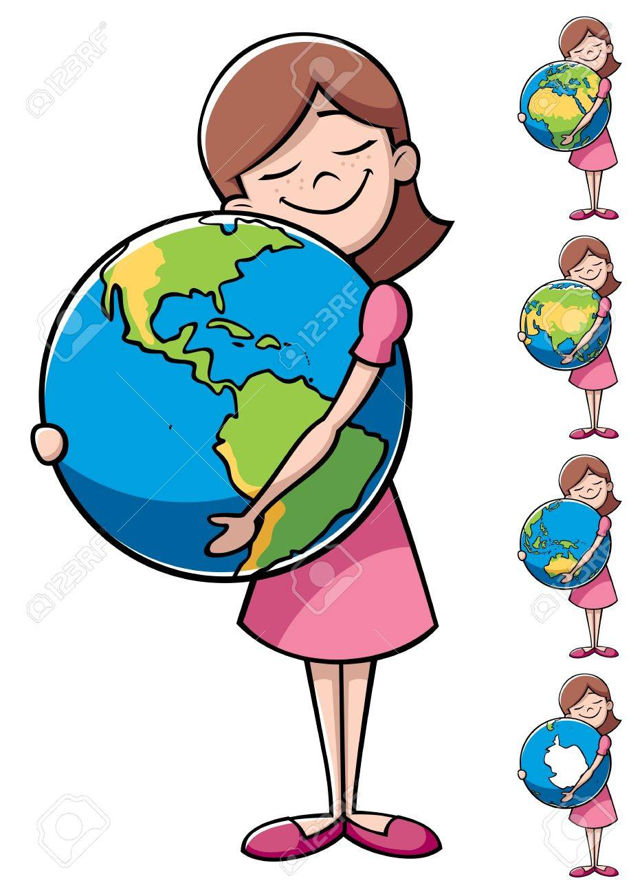 Little girl hugging the Earth over white background. On the right are 4 more versions, differing by the shown part of the Earth. Stock Vector - 15775011