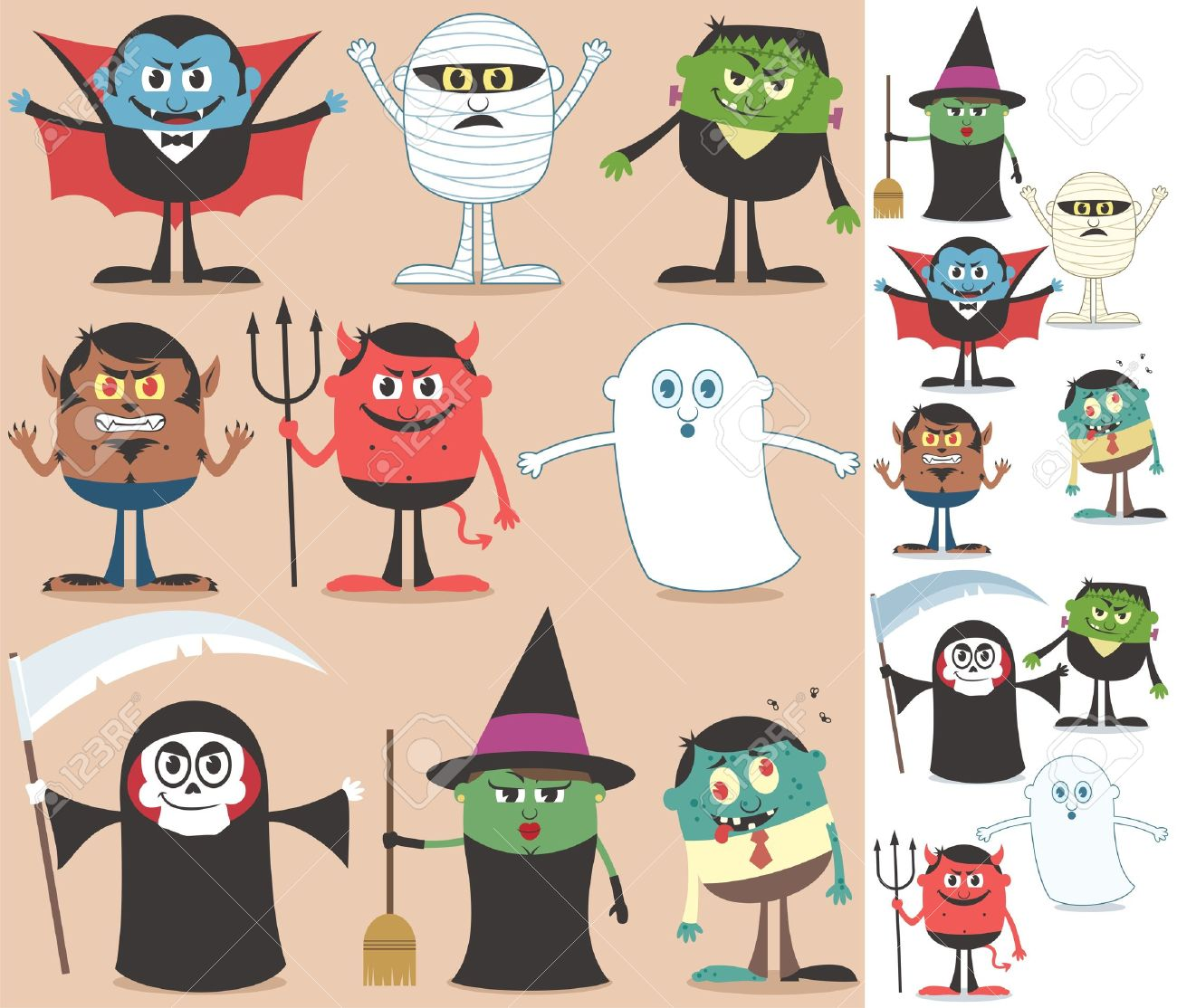 Collection of Halloween characters. On the right are the same characters adapted for white background.  No transparency and gradients used. Stock Vector - 15930915
