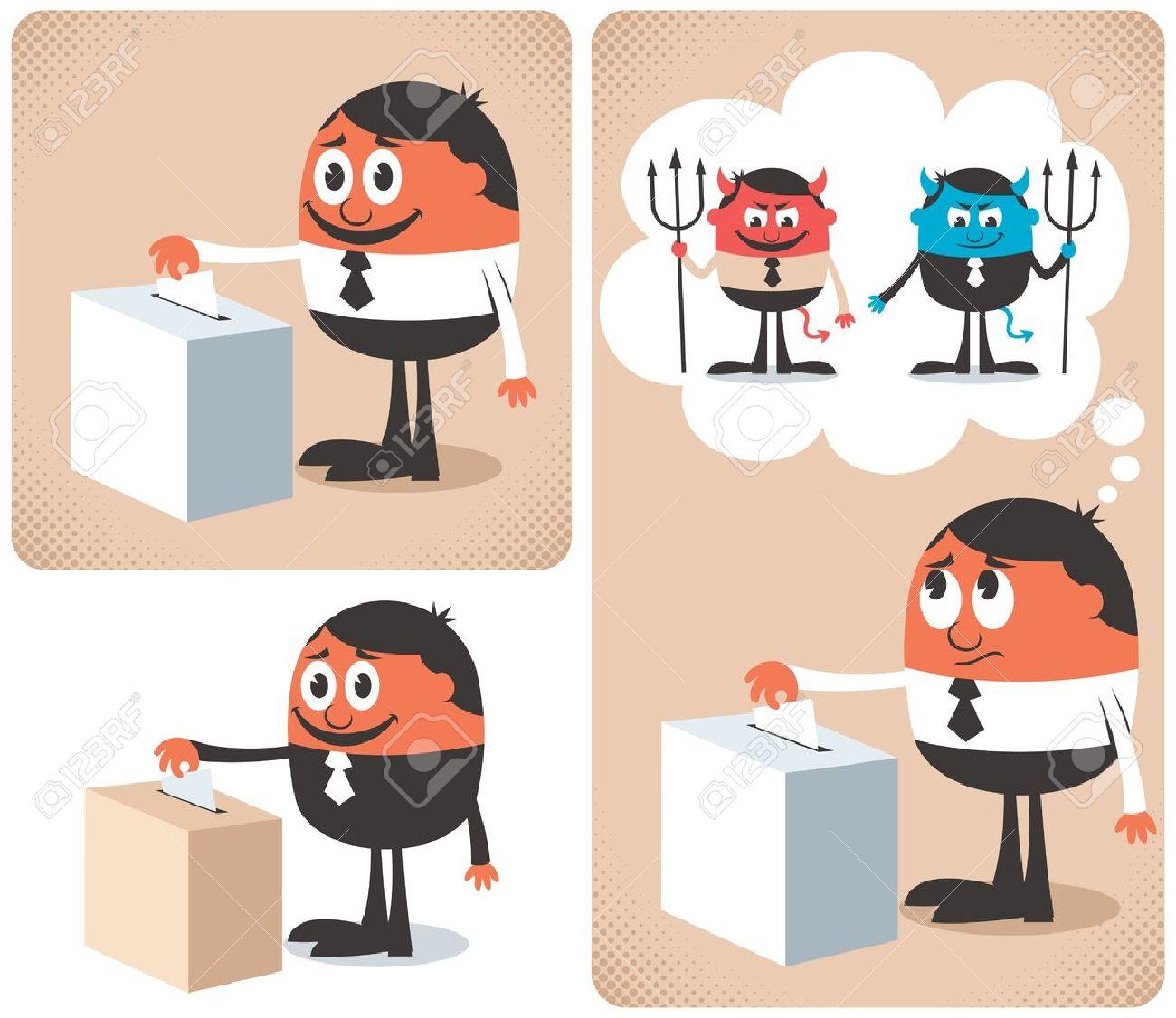 Man voting at ballot box. Stock Vector - 15998436