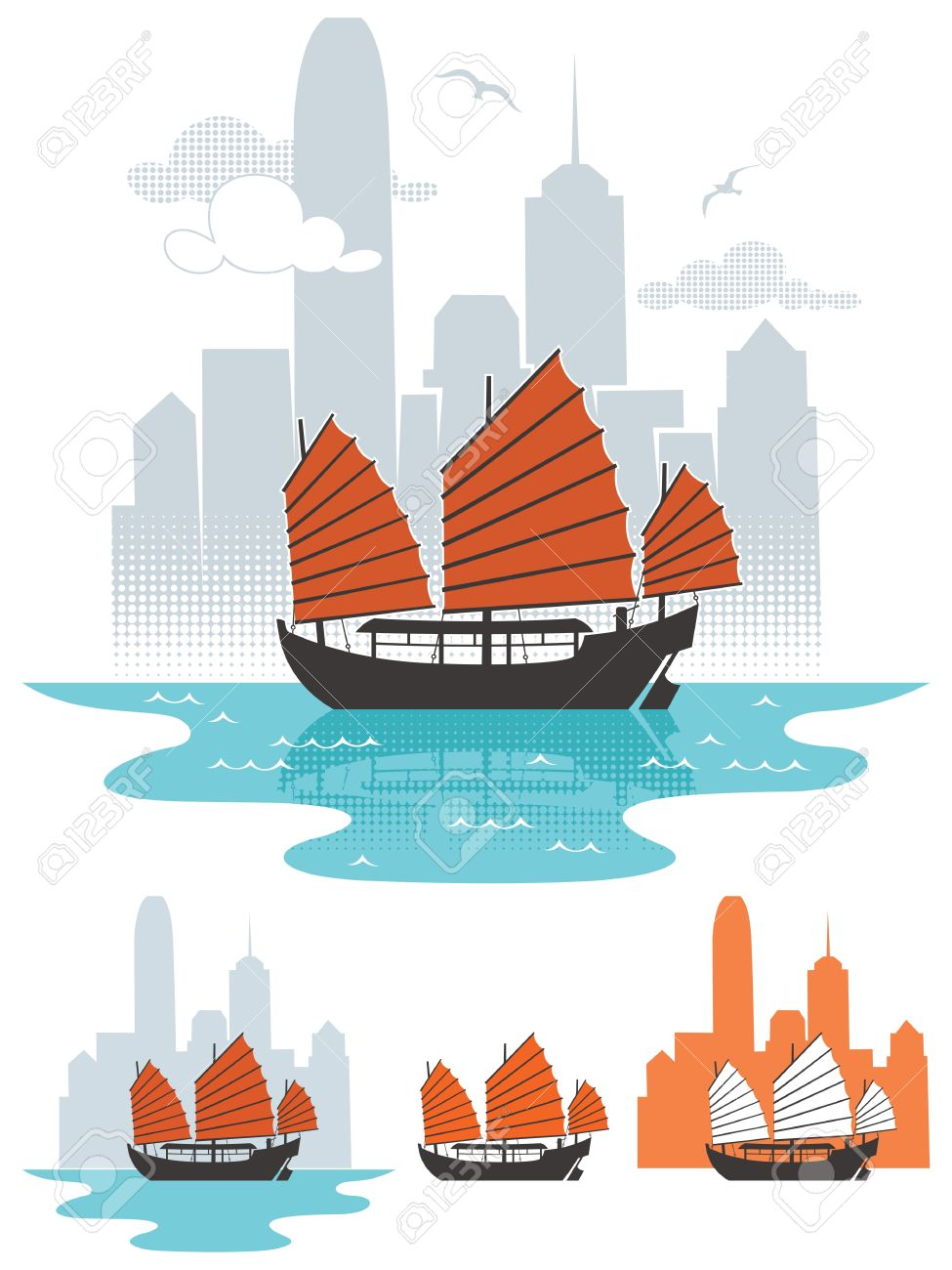 Illustration of junk boat in Hong Kong. Below are 3 additional simplified variations.  No transparency and gradients used. Stock Vector - 16921471