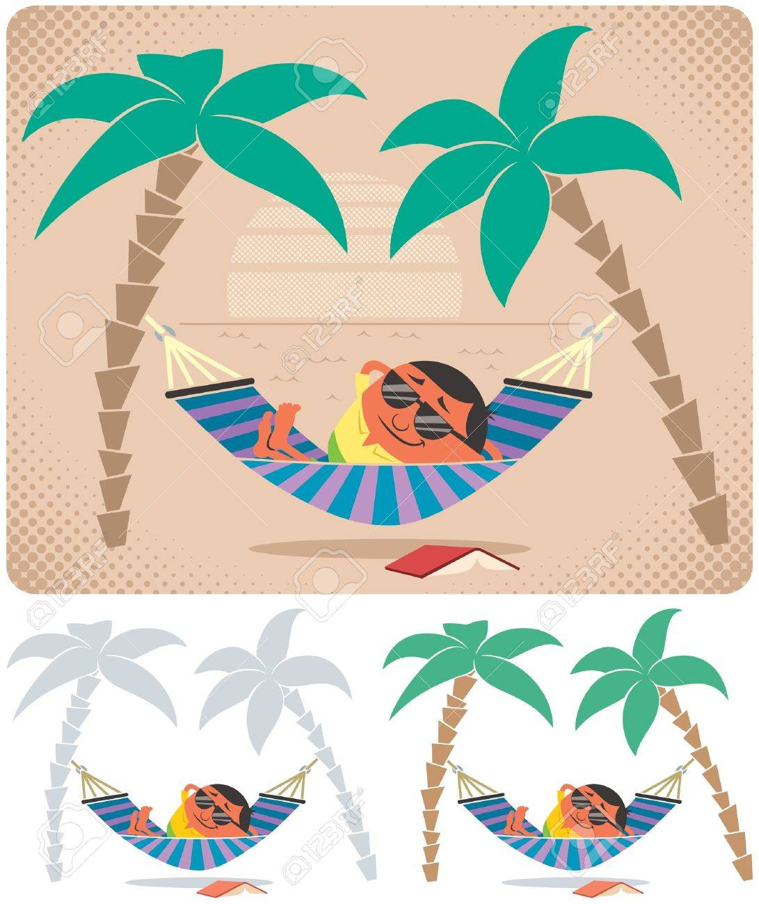 Man relaxing in hammock. The illustration is in 3 versions. No transparency and gradients used. Stock Vector - 16939655