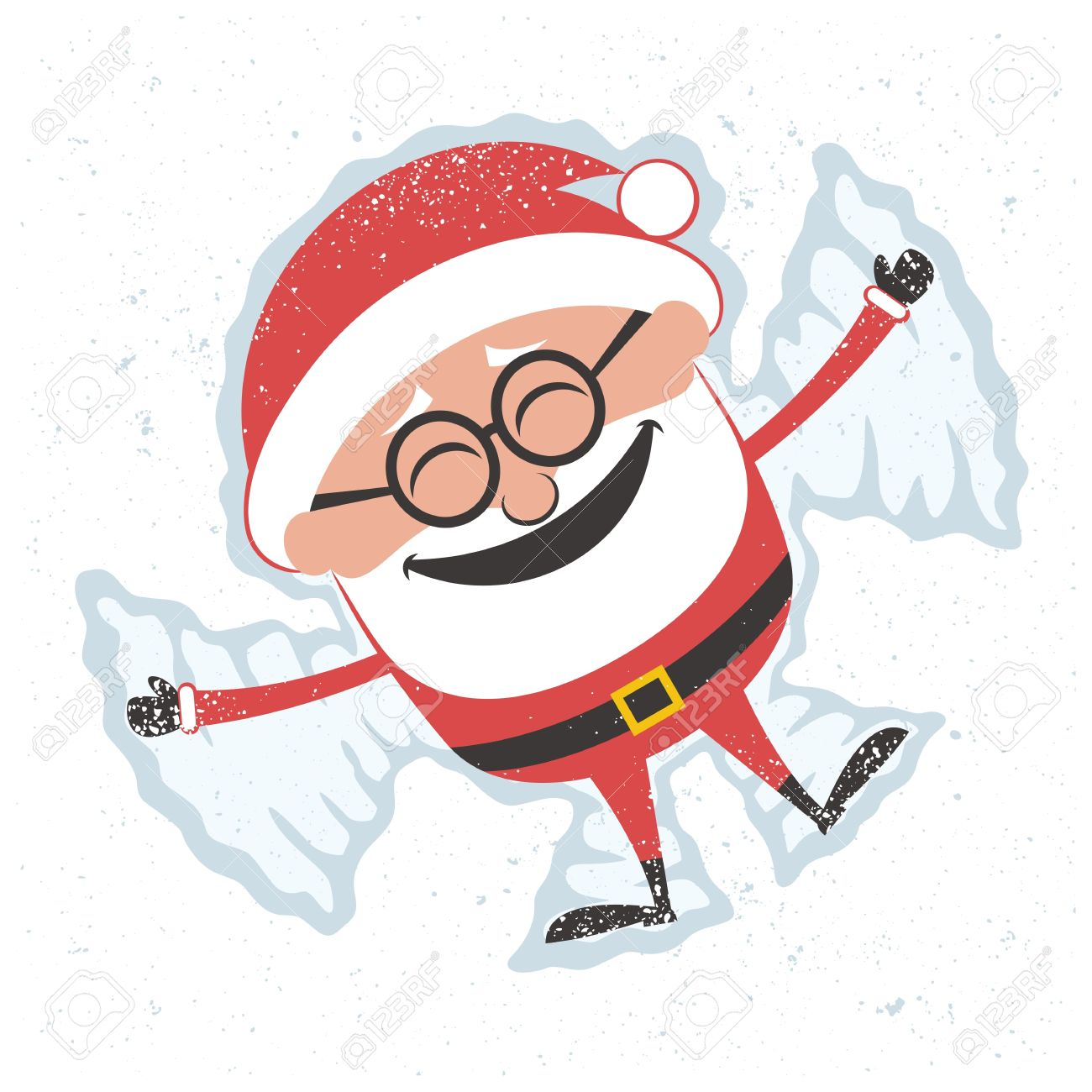 christmas card with santa claus making snow angel no transparency rh 123rf com  making snow angels clipart