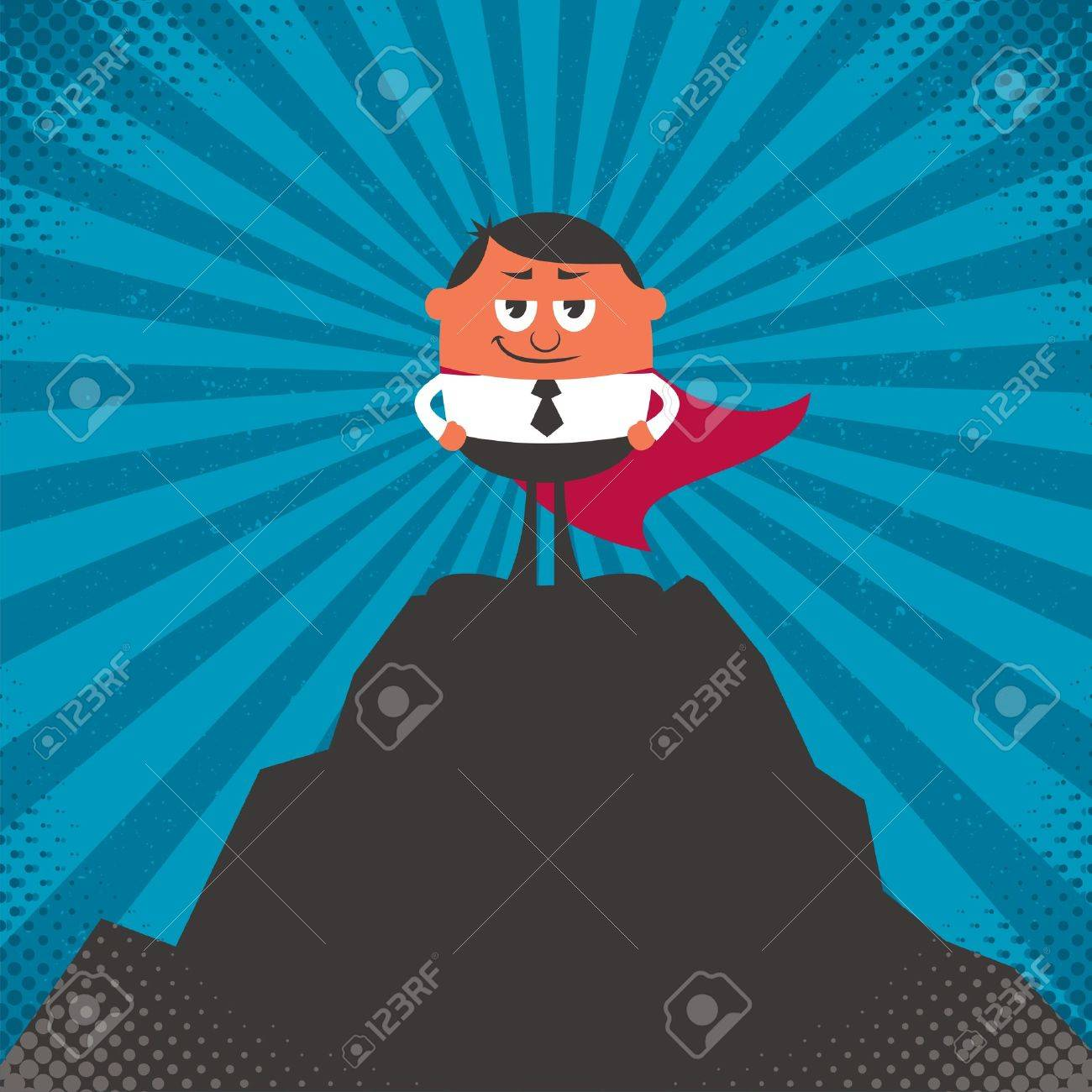 Conceptual illustration for business success, depicting character on top of mountain. Stock Vector - 17606921